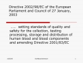 Directive 200298EC of the European Parliament and Council of 27 ...