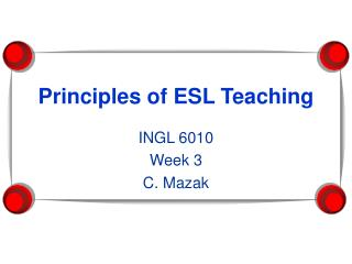 Principles of ESL Teaching