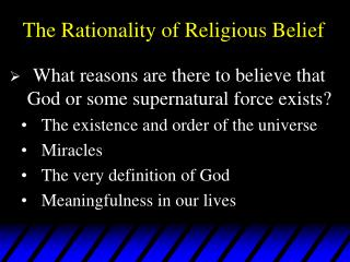 The Rationality of Religious Belief