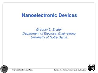Nanoelectronic Devices