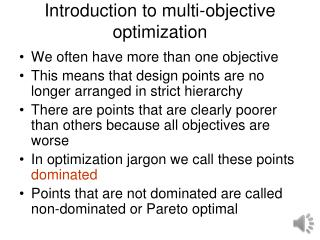Introduction to multi-objective optimization