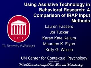 Using Assistive Technology in Behavioral Research: A Comparison of IRAP Input Methods