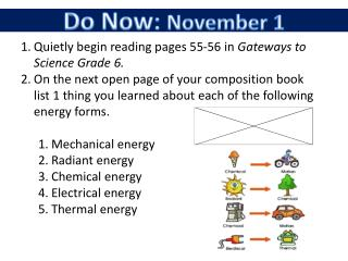 Quietly begin reading pages 55-56 in  Gateways to Science Grade 6.