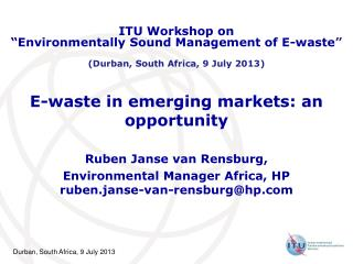 E -waste in emerging markets: an opportunity