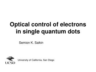 Optical control of electrons in single quantum dots