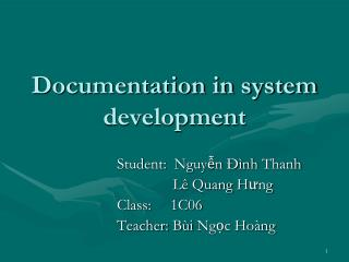 Documentation in system development