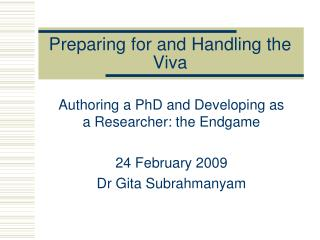 Preparing for and Handling the Viva