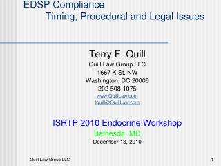 EDSP Compliance Timing, Procedural and Legal Issues