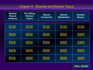 Chapter 9 - Muscles and Muscle Tissue
