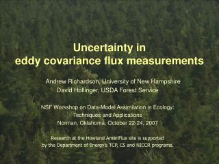 Uncertainty in  eddy covariance flux measurements