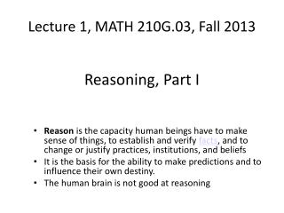 Lecture 1, MATH 210G.03, Fall 2013