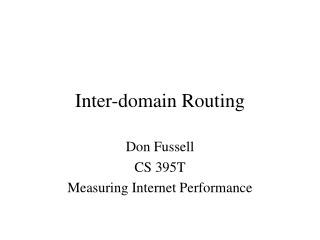 Inter-domain Routing