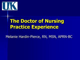 The Doctor of Nursing Practice Experience