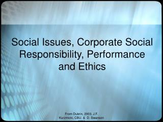Social Issues, Corporate Social Responsibility, Performance and Ethics