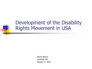 Development of the Disability Rights Movement in USA