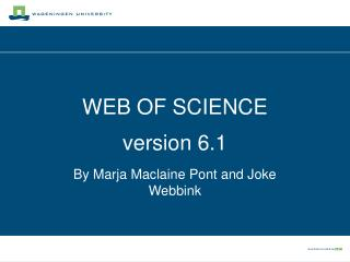 WEB OF SCIENCE version 6.1