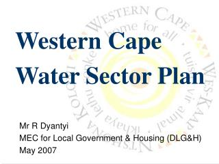 Western Cape Water Sector Plan