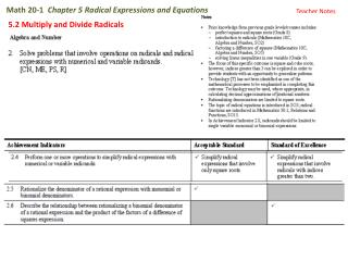 Math 20-1   Chapter 5 Radical Expressions and Equations