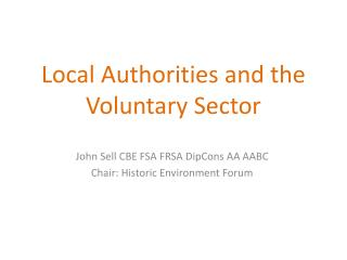 Local Authorities and the Voluntary Sector