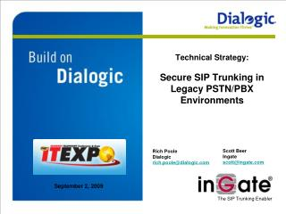 Technical Strategy:  Secure SIP Trunking in Legacy PSTN/PBX Environments