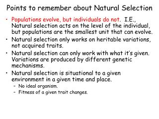 Points to remember about Natural Selection