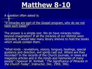 Matthew 8-10