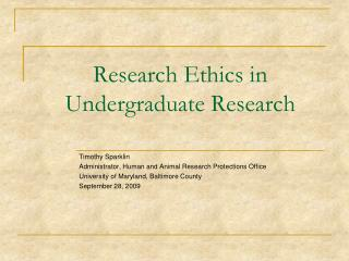 Research Ethics in Undergraduate Research
