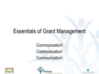 Essentials of Grant Management