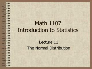 Math 1107  Introduction to Statistics