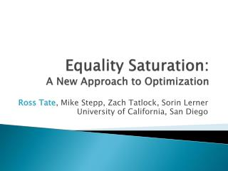 Equality Saturation: A New Approach to Optimization