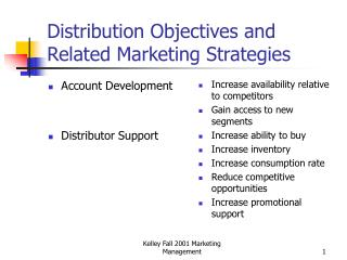 Distribution Objectives and Related Marketing Strategies