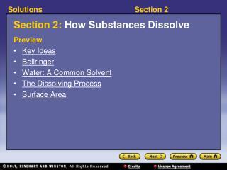 Section 2: How Substances Dissolve