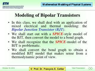 Modeling of Bipolar Transistors
