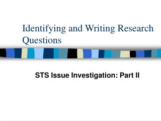 Identifying and Writing Research Questions