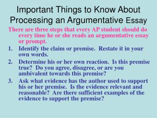 Important Things to Know About Processing an Argumentative  Essay
