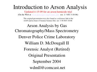 Introduction to Arson Analysis