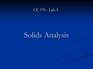 Solids Analysis