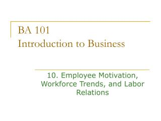 BA 101  Introduction to Business