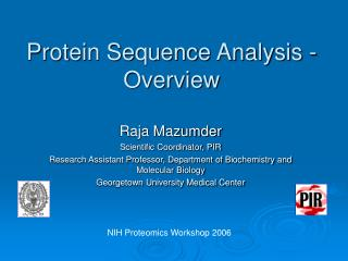 Protein Sequence Analysis - Overview