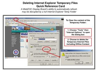 Deleting Internet Explorer Temporary Files   Quick Reference Card