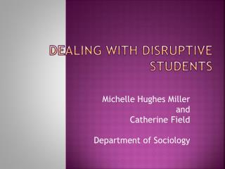 Dealing with Disruptive Students