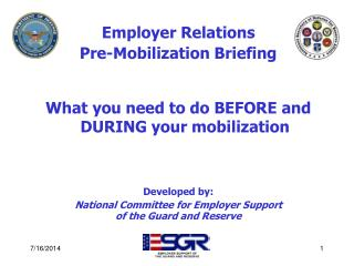 Employer Relations Pre-Mobilization Briefing