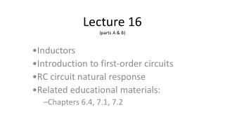 Lecture 16 (parts A & B)