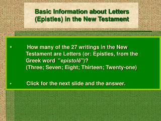 Basic Information about Letters (Epistles) in the New Testament