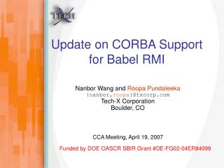 Update on CORBA Support for Babel RMI