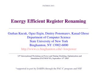 Energy Efficient Register Renaming