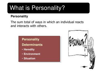 Personality The sum total of ways in which an individual reacts and interacts with others.