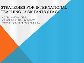 Strategies for  International Teaching Assistants (ITA's)