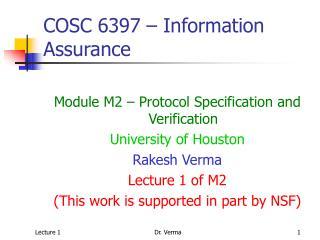 COSC 6397 – Information Assurance