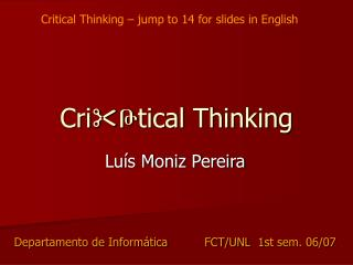 Cri  Թ tical Thinking